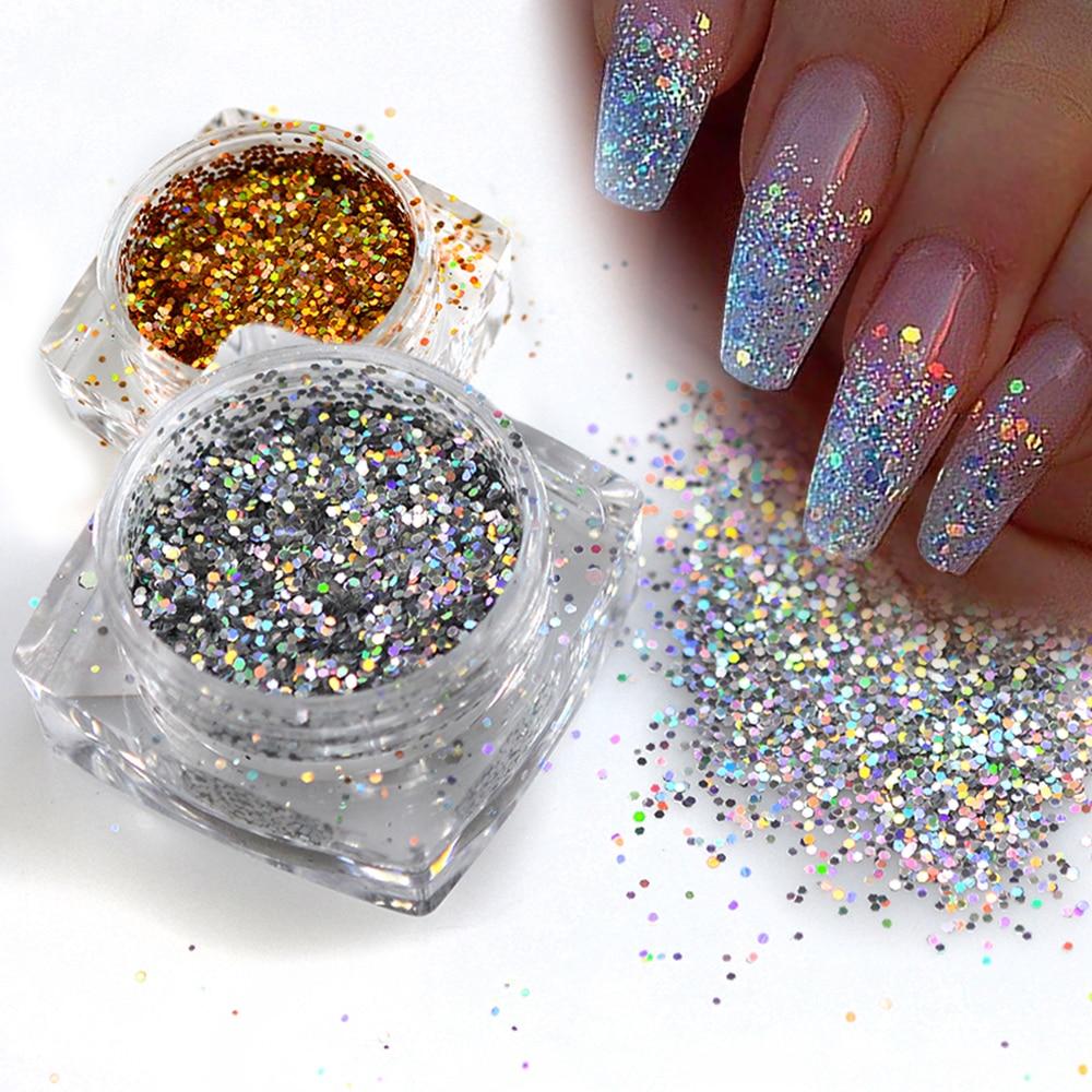 2017 1 Bottle Mini Hexagon Shape Laser Shining Nail Art Glitter Diy Sparkly Paillette Tips