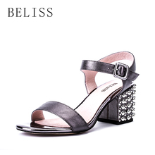 купить BELISS 2019 summer women shoes high square heels peep toe ladies sandals buckle strap rivet genuine leather women's sandals S27 по цене 2922.4 рублей