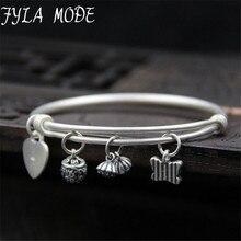 Fyla Mode Women Fashion Vintage Heart Butterfly Charms Bracelet Love Flowers Round Pendant Charm Cuff Bracelet Female Jewelry