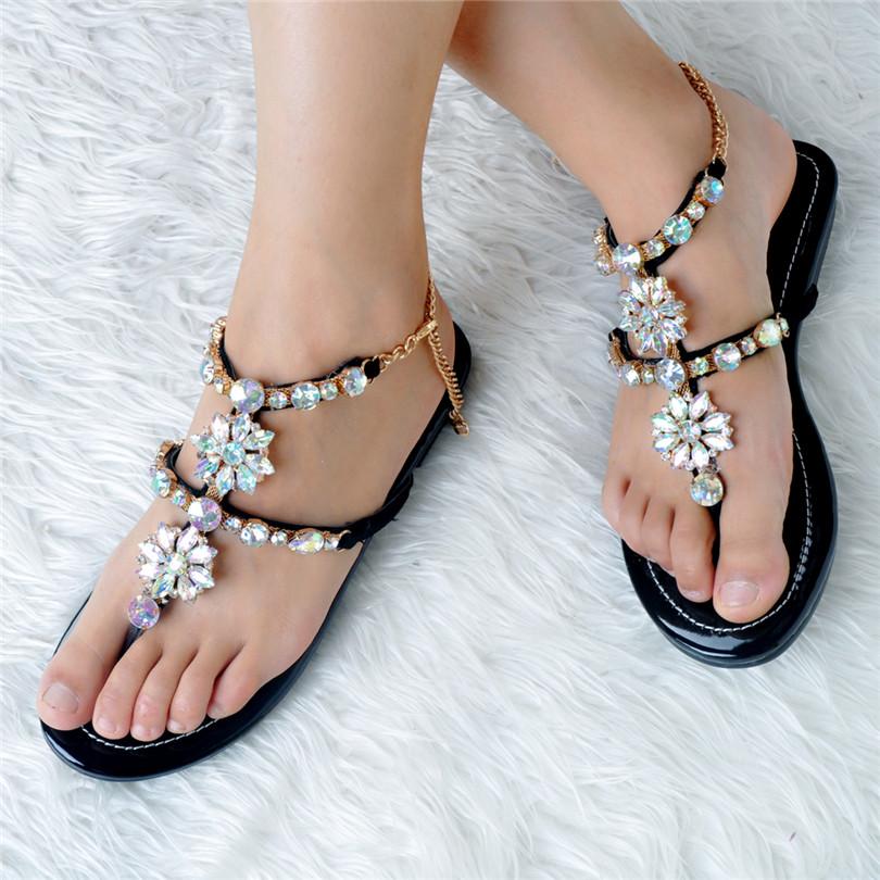 Woman Shoes 2017 Summer Casual Sandalias Mujer Sapatos Mulher Crystal Metal Decoration Open Toe Women Shoes Gladiator Sandals weweya casual gladiator female flats sandals 2017 new platform open toes shoes women summer wedges shoes woman sandalias sapatos