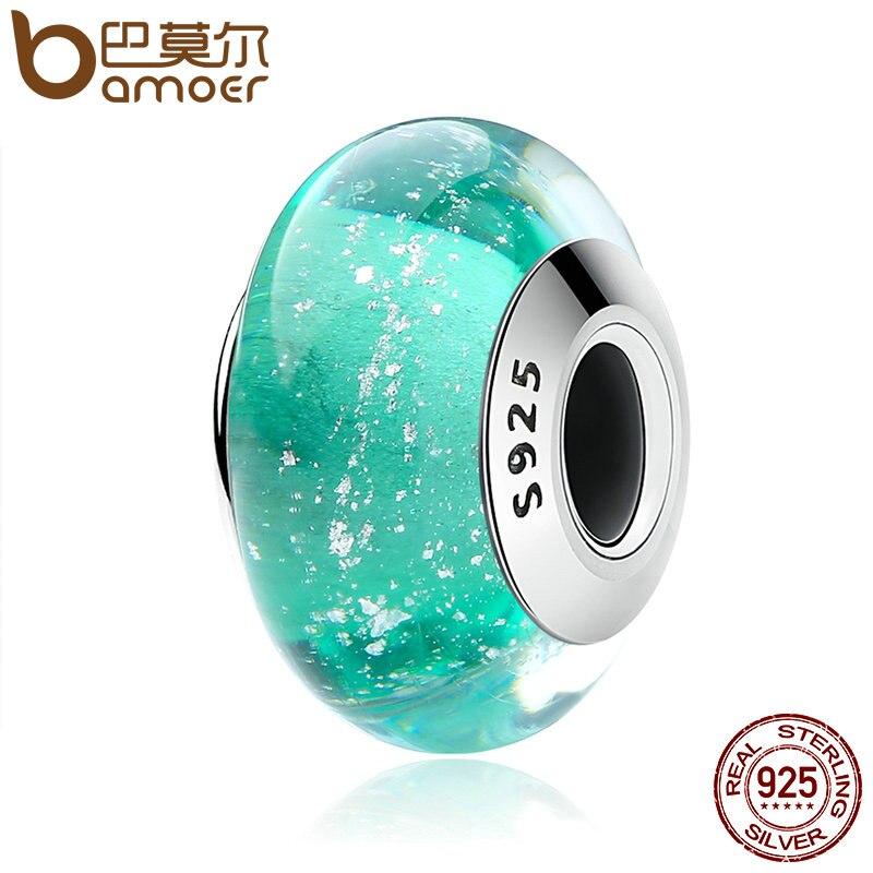 BAMOER 100% Sterling Silber Ariel Unterschrift Farbe Murano Glas Perlen fit Charme Armband Authentische Silber Schmuck S925 SCZ021