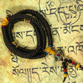 Ébano naturais Contas de Oração Budista Tibetano Buda Pulseira Jóia Da Colar Do Rosário De Madeira