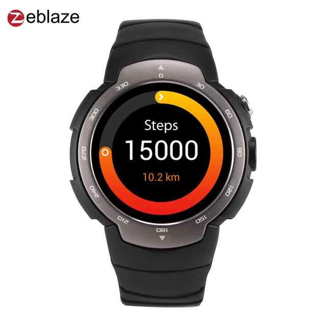Nueva zeblaze blitz smartwatch gps podómetro pulsómetro android impermeable mtk6580 quad core teléfono de 1.33 pulgadas smart watch