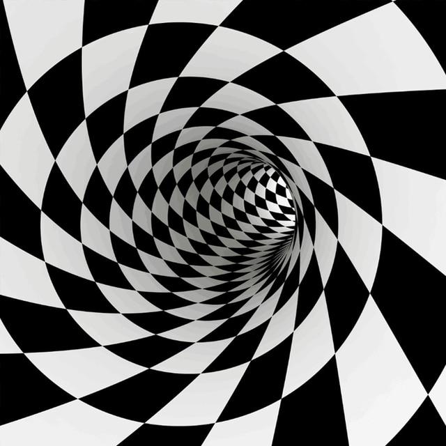 Tapis de sol imprimé 3d | Tapis de luxe, tapis de sol, blanc noir, abstrait, Illusion géométrique optique, salon chambre à coucher, tapis de chevet