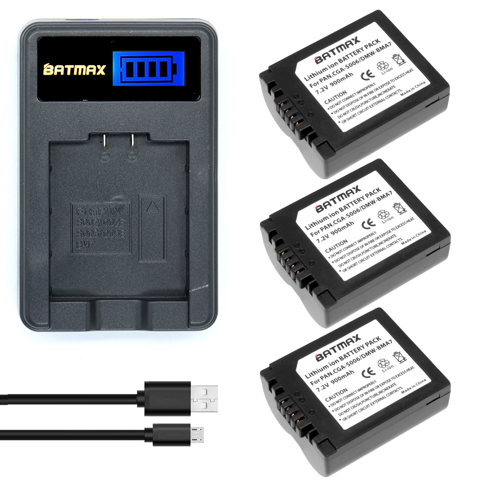 3Pcs CGR-S006E CGR S006E S006 Camera Battery +LCD USB Charger for Panasonic DMC-FZ7 FZ30 FZ50 FZ28 FZ18 TZ8 FZ8 FZ38 FZ35 Camera ...