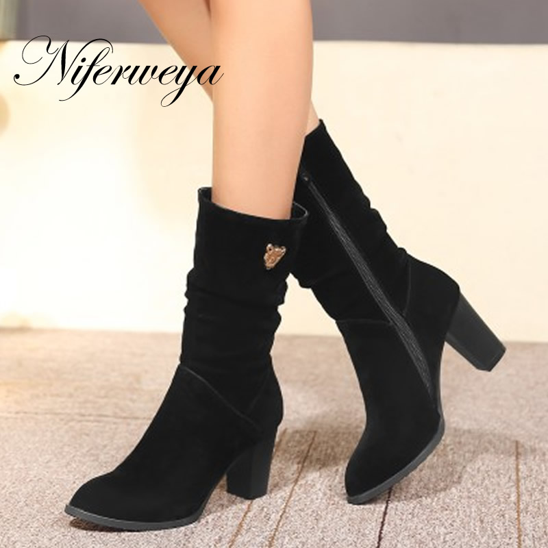 2016 Fashion winter women shoes Round Toe high heels Martin boots big size 32-48 suede zipper Mid-Calf boots zapatillas mujer