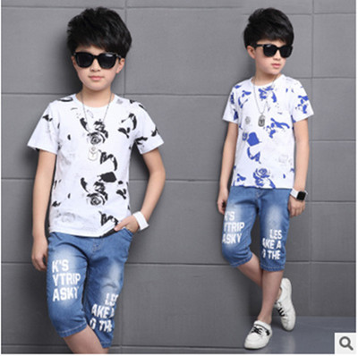 Kids boys short-sleeved suit 2017 summer children's cotton casual T-shirt big virgin piece denim shorts girls clothes 3-15 yrs beanbus summer children s t shirts for boys casual t shirt o neck printing cartoon cotton boys short sleeved t shirt boy clothes