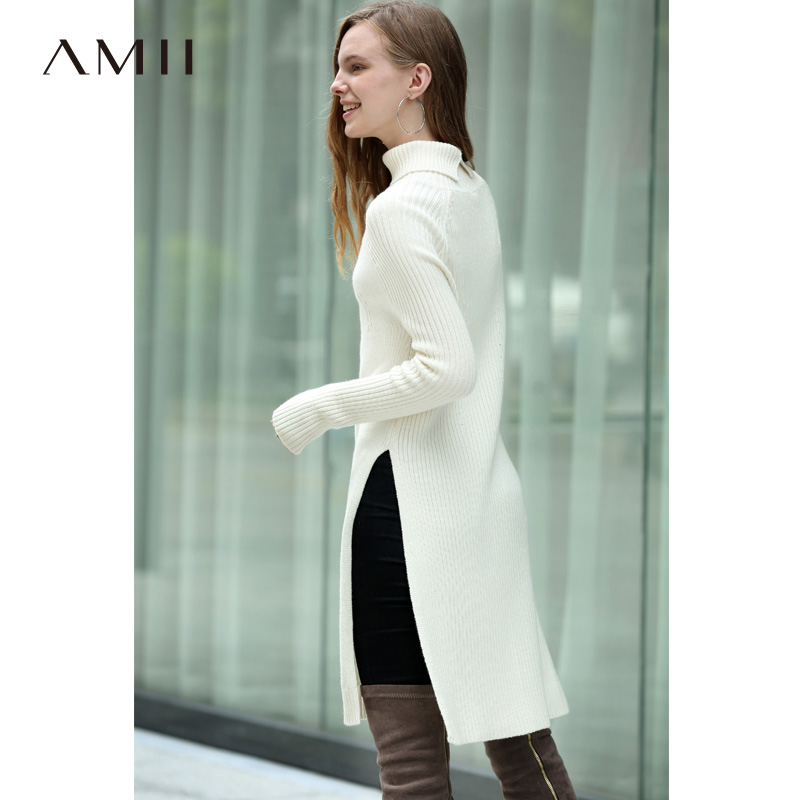 Amii Minimalist Women Long Sweater Autumn Winter 2018 Causal Solid Long Sleeve Side Slit Wool Soft