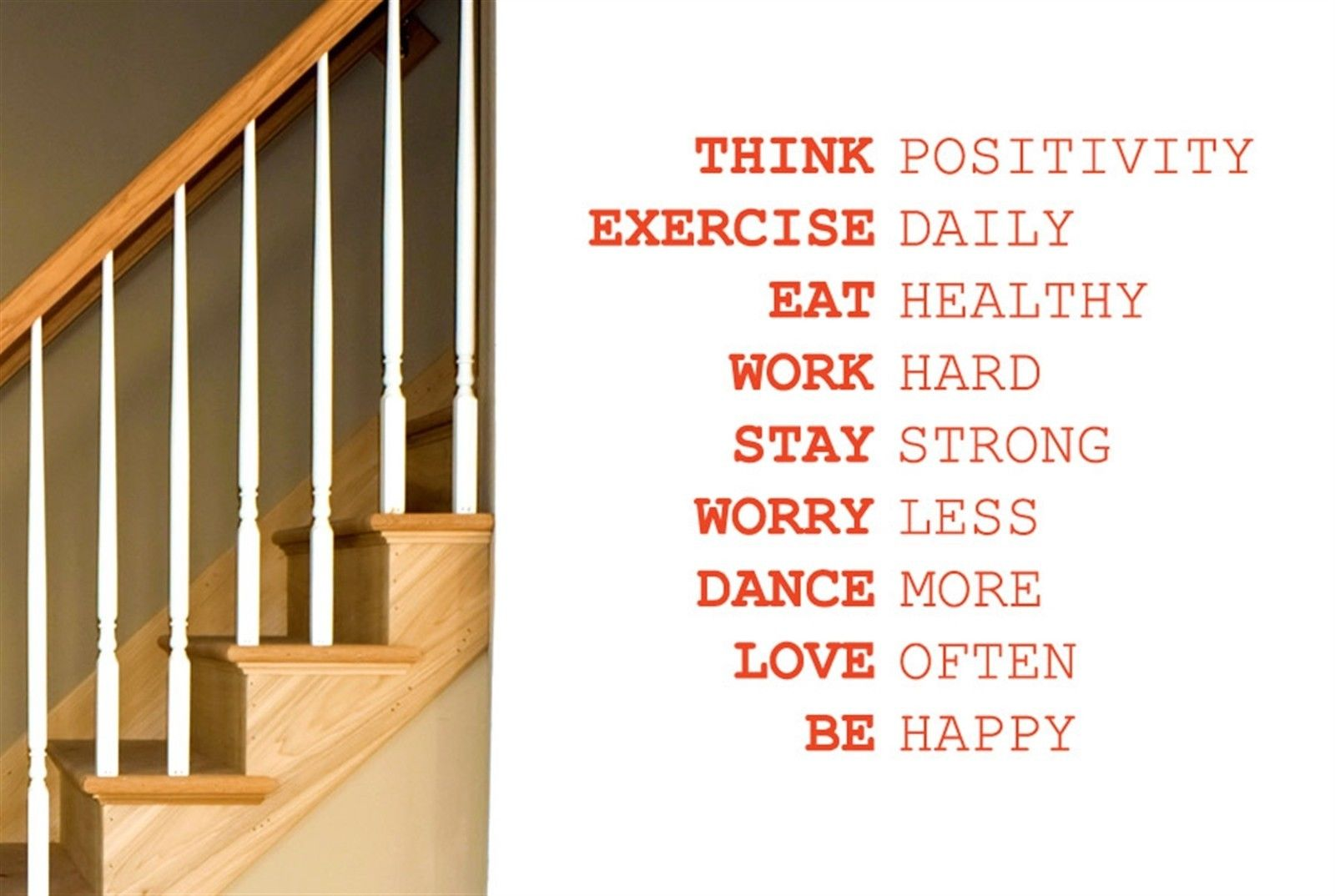 Q026 Think Positivity Exercise Daily Work Hard Wall Stiker Art Decals - Διακόσμηση σπιτιού - Φωτογραφία 1