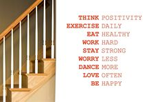 Q026 Think Positivity Exercise Daily Work Hard Wall Stickers Art Decals Home Decor Free Shipping