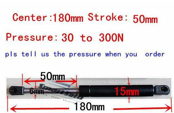 2pcs free shipping 30 to 300N force 180mm central distance,50mm stroke, pneumatic Auto Gas Spring, Lift Prop Gas Spring Damper free shipping500mm central distance 200mm stroke 80 to 1000n force pneumatic auto gas spring lift prop gas spring damper