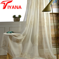 Imitated Linen Thread Embroidered Window Screen Sheer Panel Fabric Europe Curtains Bedroom Living Room White Tulles