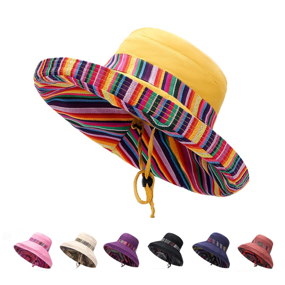 Yo-Young Women Wide Brim Sun Hats Beach Hat Ladies Summer Striped Hats Big Bow Foldable Double Side Style Fashion Women Hats