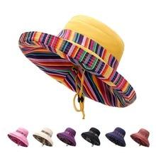 Yo-Young Women Wide Brim Sun Hats Beach Hat Ladies Summer Striped Big Bow Foldable Double Side Style Fashion