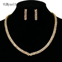 Great Necklace Earrings jewelry set for party quick ship White and Gold color beautiful 2pcs jewelry sets for women