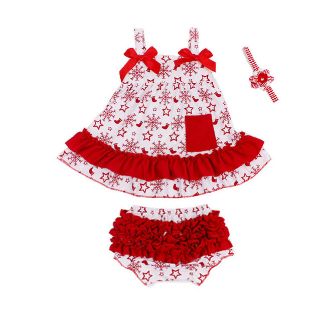2016 Summer Baby Sets Baby Girls Sling Flounced Dress+Bloomers Short+Headband 3pcs Newborn Baby Girls Clothes Cotton Suits V30