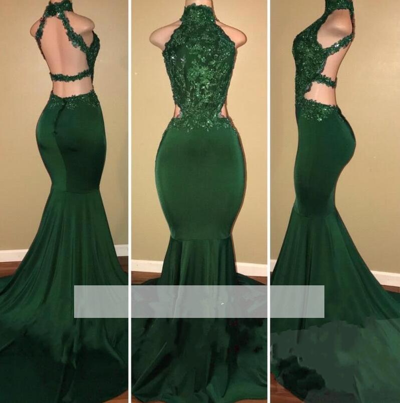 Emerald Green 2019 Prom Dresses Mermaid Halter Appliques ...