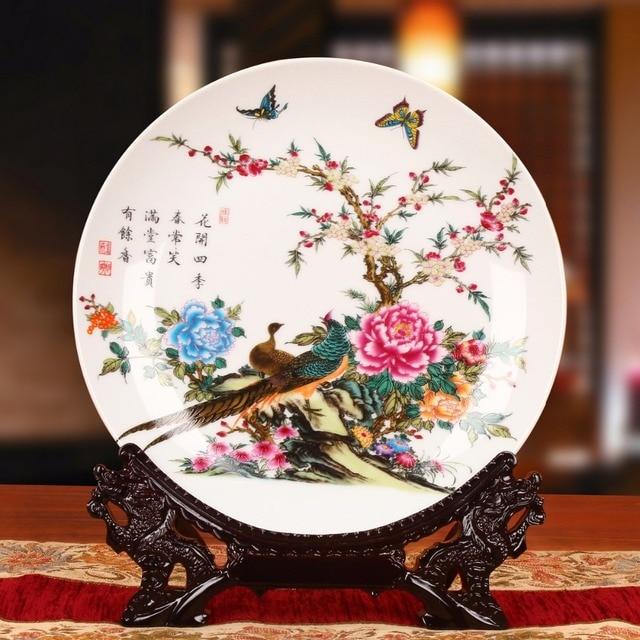 Modern Home Decor Ceramic Ornamental Plate Chinese Decoration Bird Plate Porcelain Flower Plate Set Setting Wall & Modern Home Decor Ceramic Ornamental Plate Chinese Decoration Bird ...
