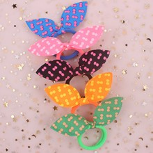 2019 hot Pretty Cloth material twin dots Rabbit ears Spandex Elastic Hair Bands hair accessories for women girls Head rope 1pcs(China)