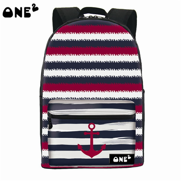 ONE2 Design striped anchor 600D polyester nylon school laptopsport bag backpack for high school students teenager girls boys one2 design colorful 600d polyester school bag laptop backpack ice cream for university students women man teenager boys girls