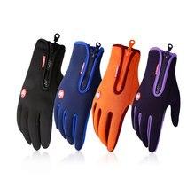 1 Pair Winter Zipper Gloves Diving Cloth  Anti-slip Touch Screen Gloves Finger Fleece Warm Gloves for Women Men