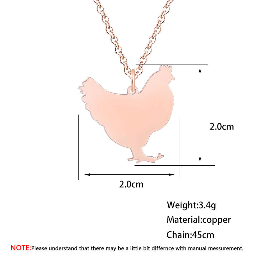 QIAMNI Cute Chicken Pendant Necklace Stainless Steel Hen Farm Animal Necklace Jewelry Party Gift Minimalist Charm for Women Men