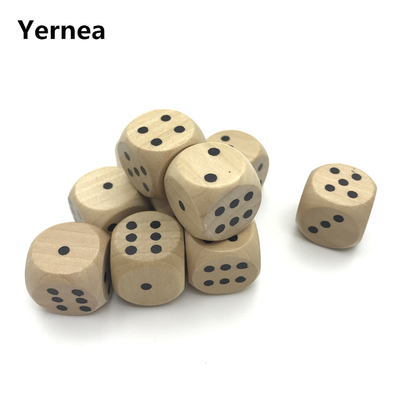 Yernea High-quality 6Pcs 20mm Wooden Dice Solid Wood Rounded Corner Drinking Dice Children Interesting Teaching Point Dice Set