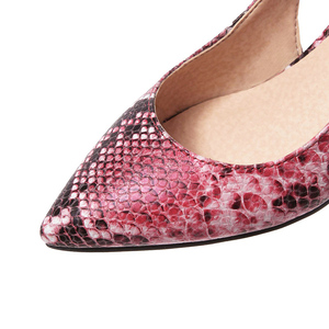 Image 5 - 2019 봄 여성 신발 펌프 뱀 인쇄 하이힐 신발 우아한 중반 굽된 섹시한 지적 발가락 Slingbacks 웨딩 파티 신발