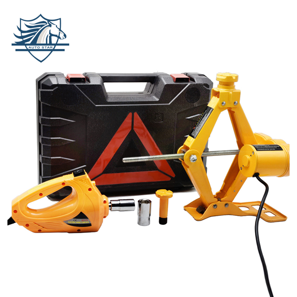 Portable 12V Car Jack 3T Electric Jack Auto Lift Scissor Jack Electric Wrench Impact Socket Wrench Auto Tyre Change