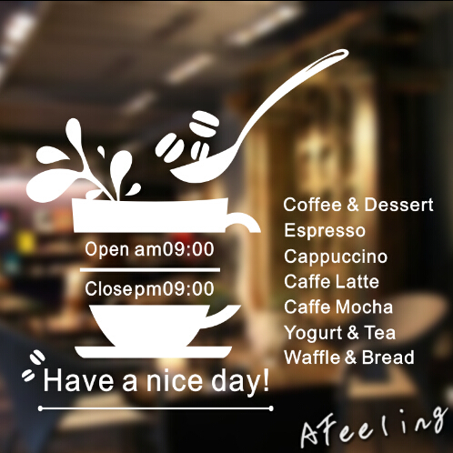 Window sticker restaurant store shop service sign sticker custom opening time business time welcome sticker wall