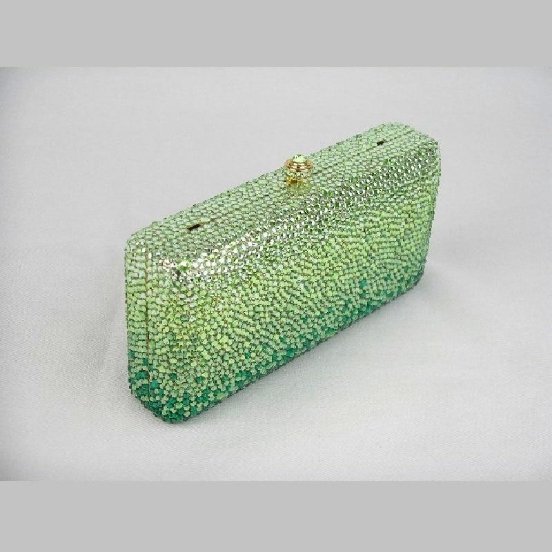 ФОТО 7753G Green Crystal in Gradual change effect Lady fashion Bridal Wedding Party Metal Evening purse clutch bag case handbag box
