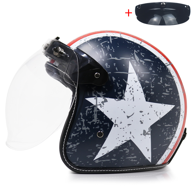 2018 new fashion motorcycle helmet harley 3 4 face retro. Black Bedroom Furniture Sets. Home Design Ideas