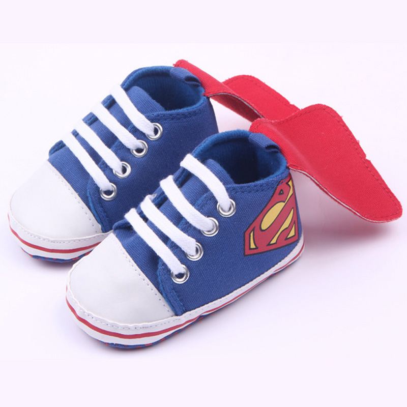 New Superman Baby Shoes 2016 New Fashion Batman Cartoon Toddler Infants Shoes 11cm 12cm 13cm Baby Boys Shoes First Walkers 22