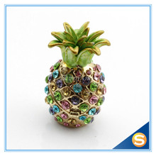 Wholesales 2pcs lot Miniature Pineapple Jeweled Trinket Box Jewelry Box with Crystal Stones