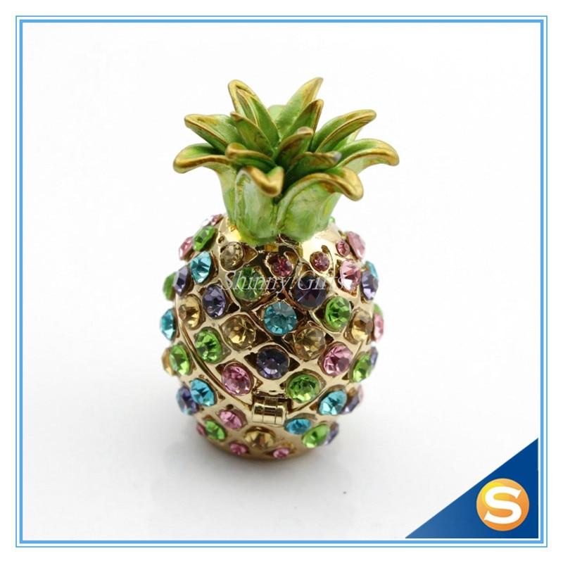 Wholesales 2pcs/lot Miniature Pineapple Jeweled Trinket Box Jewelry Box with Crystal Stones