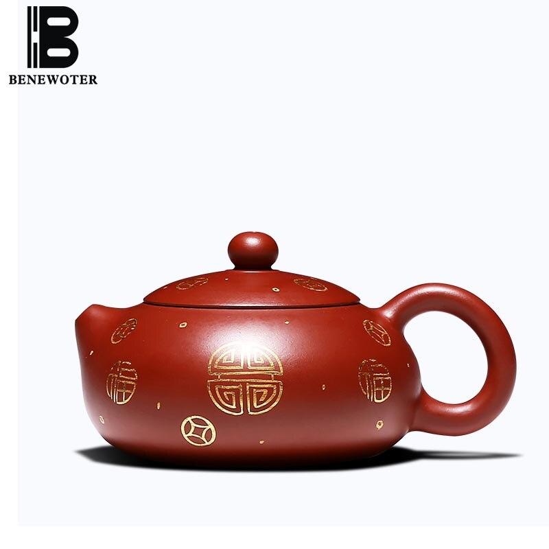 200cc Исин фиолетовый глина xishi Чай горшок ручной росписью золотой узор сырой руды Dahongpao грязи Книги по искусству Zisha горшок дома Чёрный чай чай