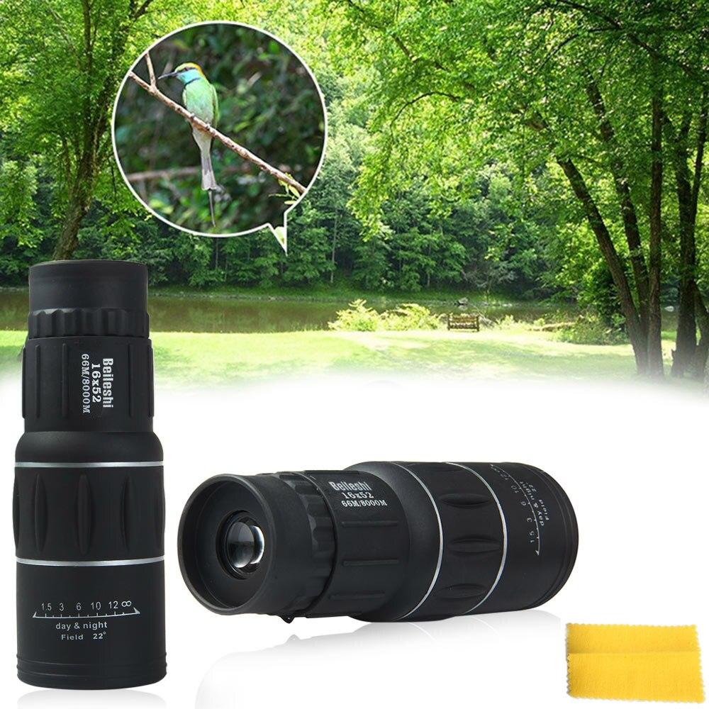 Beileshi 16x52 enfoque Dual Monocular de la localización telescopio Zoom óptico lente Binocular de lentes de caza óptica Clip de teléfono