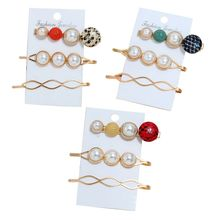 New Hair Accessories Set Fashion Women Girls Bangs Clip Multicolor Snakeskin Pattern Artificial Pearl Rhombus Hairpin