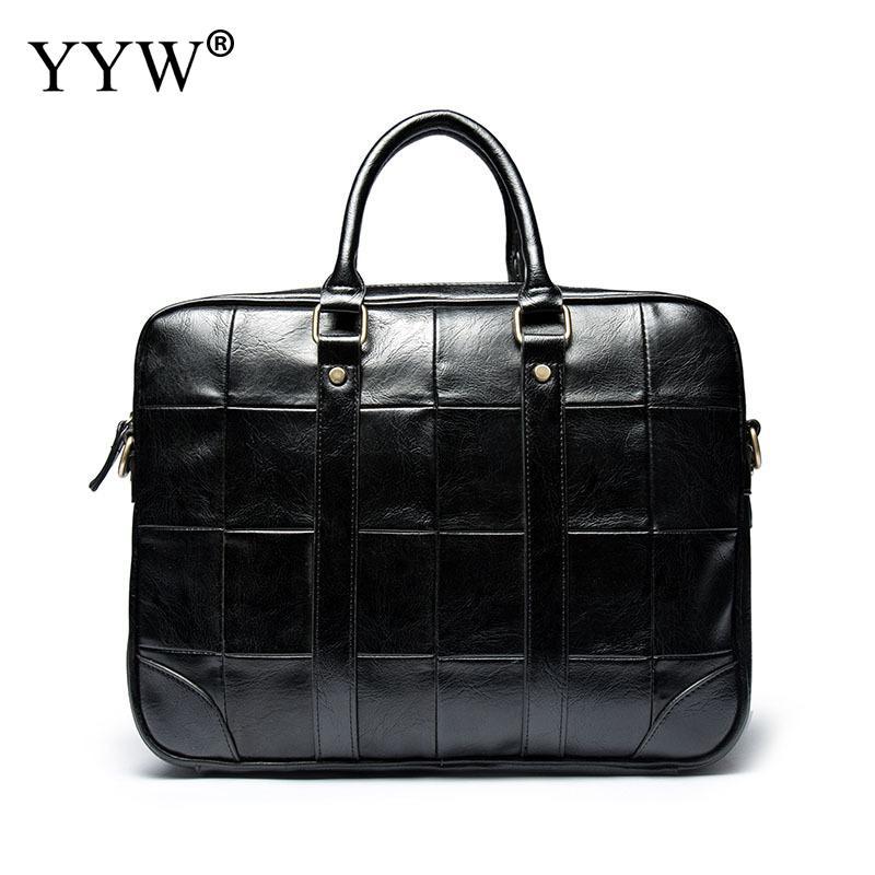 Mallette en cuir synthétique polyuréthane homme sac pour homme bandoulière sacs hommes ordinateur portable Business sac mode noir mallette 2018