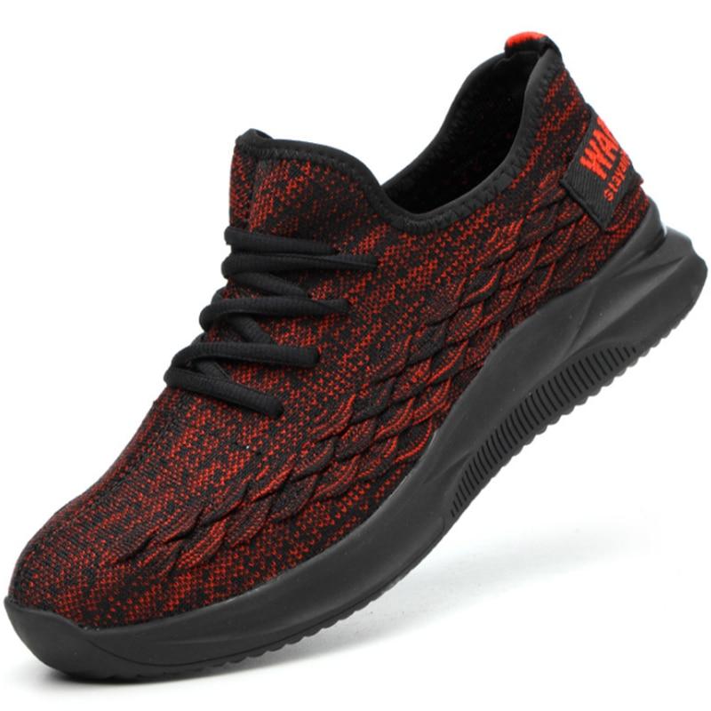 Yaz Açık Nefes Örgü Işık Rahat Çelik Ayak Koruyucu iş ayakkabısı Çizmeler Erkekler Delinme Geçirmez Erkek Güvenlik Ayakkabıları