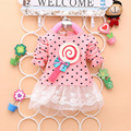 Outono e inverno roupas crianças girls dress pirulito malha & lace crianças dot pattern para princess dress