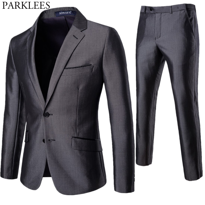 Men's 2 Piece Elegeant Tuxedo Suits With Pants Brand Slim Fit Two Buttons Formal Business Dress Suit Men Costume Mariage Homme
