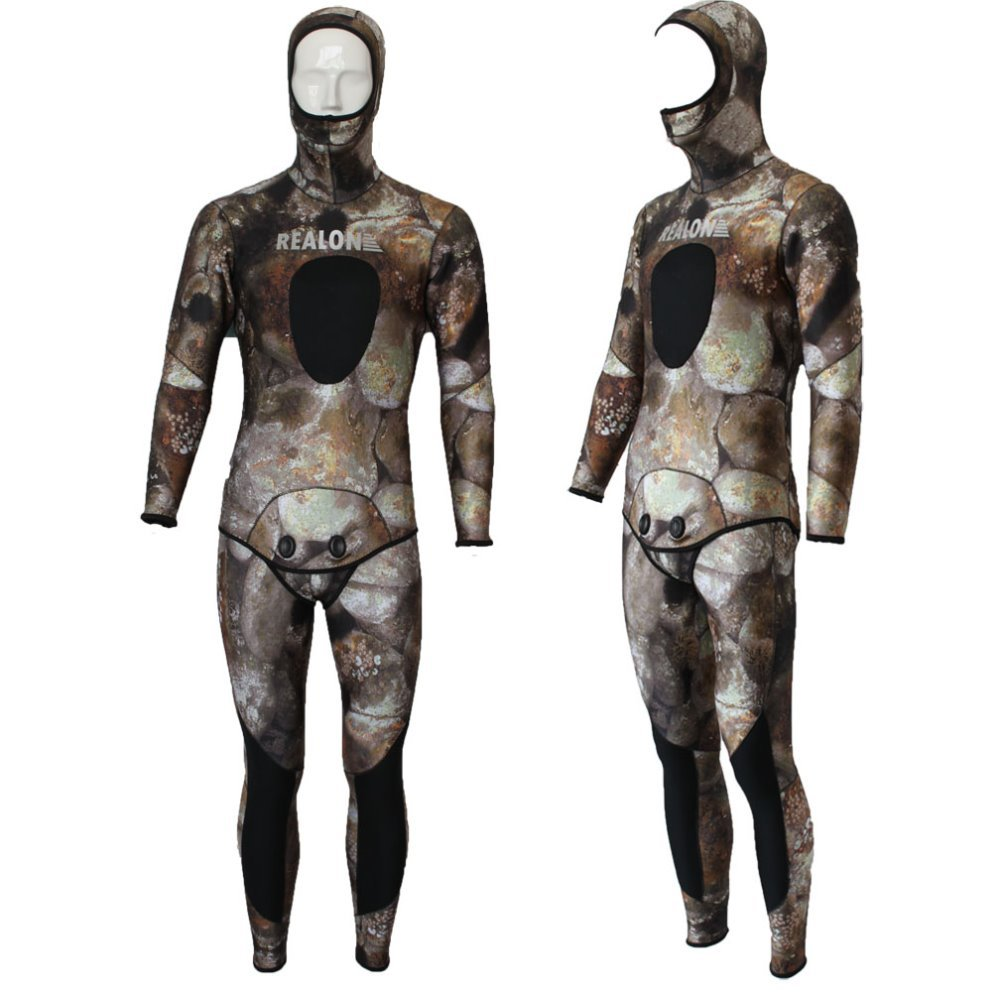 REALON Spearfishing Wetsuit 3mm Free Diving Neoprene Surf Scuba Diving Suit Camo Snorkeling Jumpsuit Body Women and Mens plus size spearfishing wetsuit 3mm