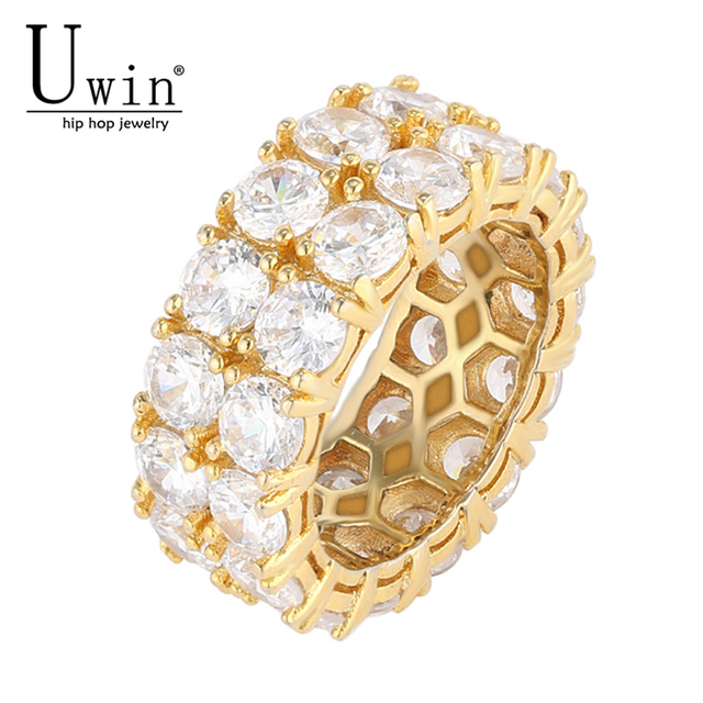 UWIN 2 Row CZ Ring Full Bling Iced Out Wedding Zircon Hollow Luxury Engagement Fashion Jewelry Gift