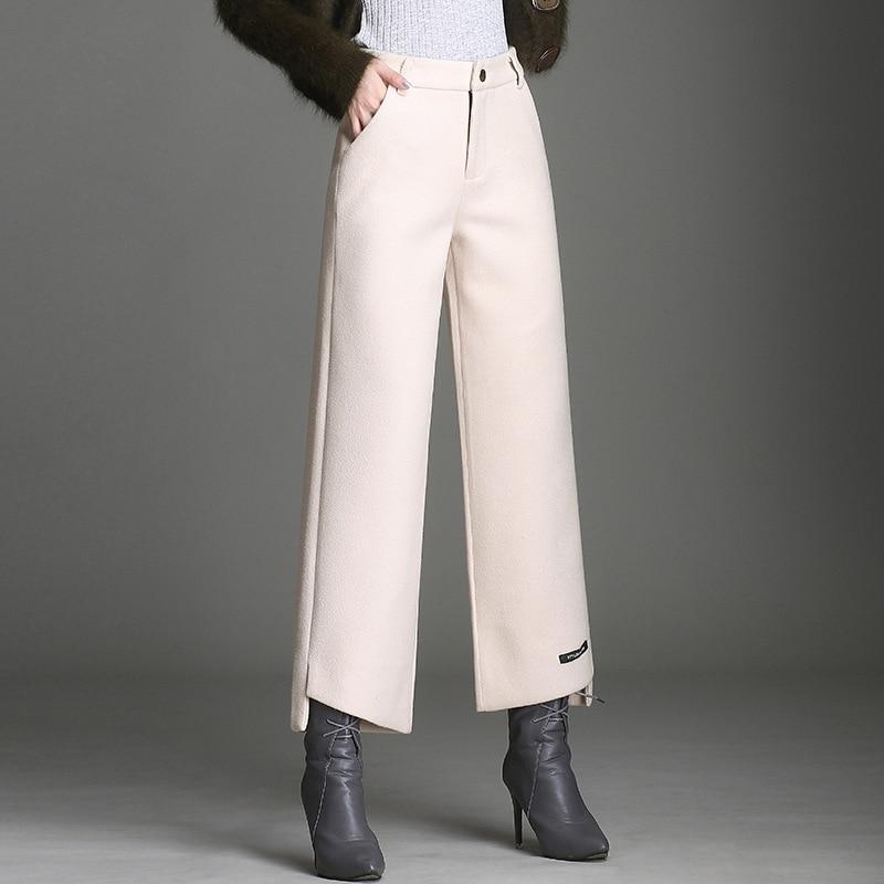 Autumn and Winter New Split Fork Woolen Casual   Pants   Women's   Pants   Fashion High Waist Versatile Slim   Wide     Leg     Pants   Nine   Pants