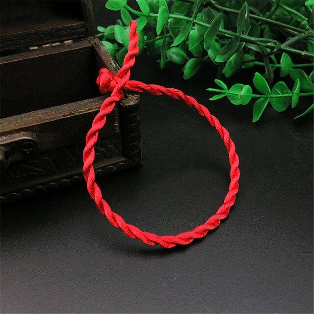 Venta 2019 1 pieza pulsera de cuerda de hilo rojo de moda pulsera de cuerda hecha a mano rojo de la suerte para Mujeres Hombres joyería pareja amante