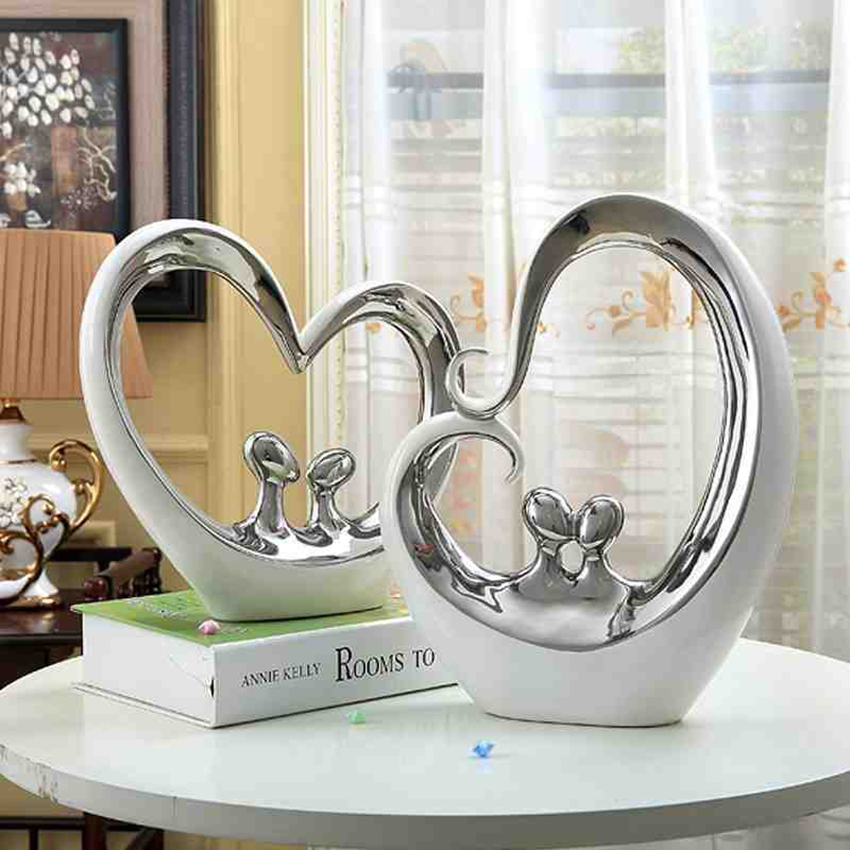 Fashion modern Ceramic couples  creative Furnishing Articles Figurines & Miniatures Crafting Art Home wedding Decor Accessories-in Figurines & Miniatures from Home & Garden    1