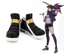 Jogo lol kda akali cosplay sapatos akali botas de cosplay para adultos sapatos femininos pretos