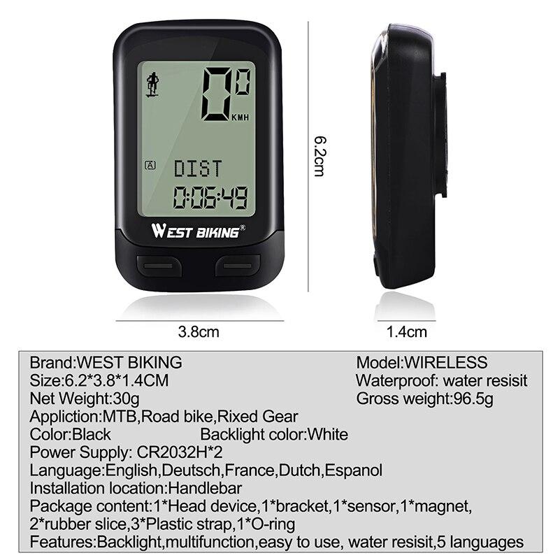 WEST BIKING Upgraded Version 5 Language Wireless Stopwatch MTB Road Bike Speed Sensor Cycling Odometer Digital Bicycle Computer