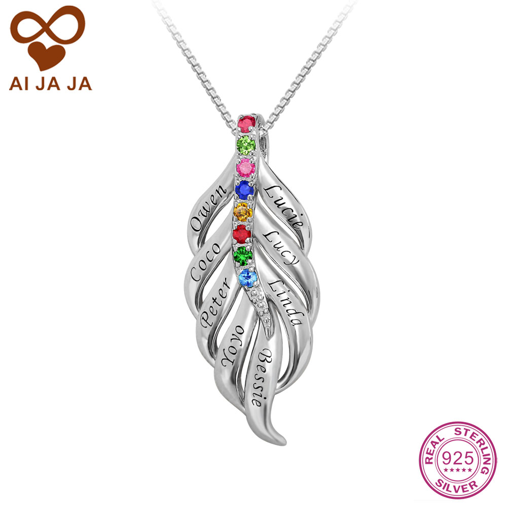 Aijaja 925 sterling silver necklaces pendants personalized family aijaja 925 sterling silver necklaces pendants personalized family best friends birthstones name engraved necklaces feather gifts in pendant necklaces from mozeypictures Choice Image